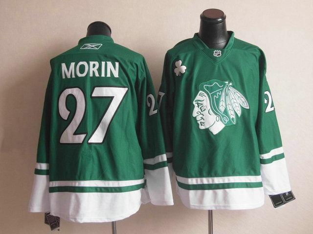 NHL Chicago Blackhawks 27 Jeremy Morin St Patty's Day Green Jersey