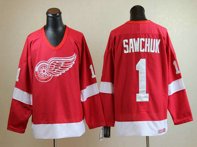 NHL Detroit Red Wings 1 Terry Sawchuk Stitched Red CCM Throwback