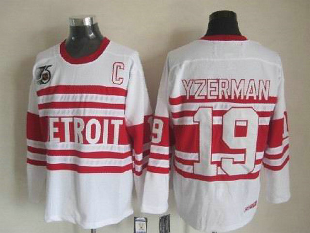 NHL Detroit Red Wings 19 Steve Yzerman White CCM Vintage Throwback C 75th Patch