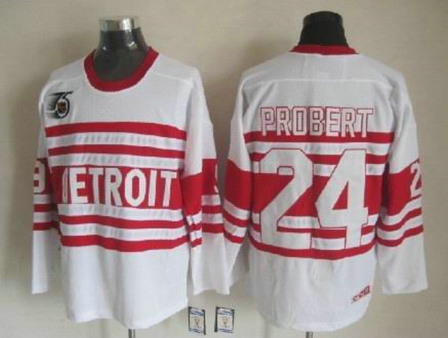 NHL Detroit Red Wings 24 Bob Probert White CCM Vintage Throwback 75th Patch