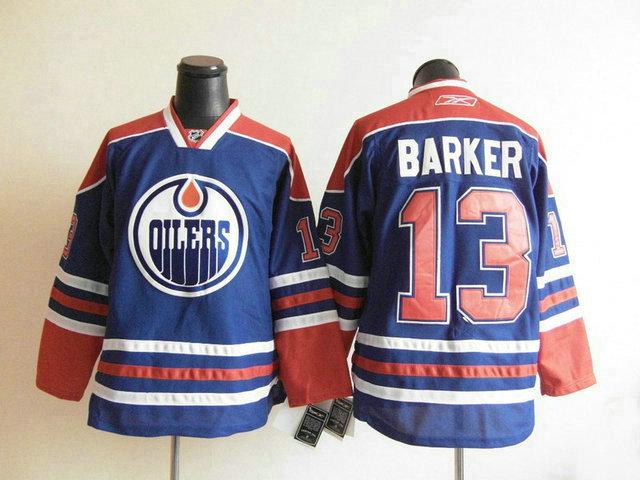 NHL Edmonton Oilers 13 Barker blue jersey