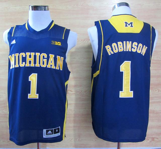 NBA NCAA Adidas Michigan Wolverines 1 Glenn Robinson III Navy Blue Basketball Jerseys