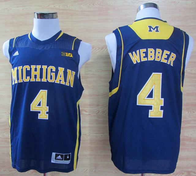 NBA NCAA Adidas Michigan Wolverines 4 Chirs Webber Navy Blue Basketball Jerseys