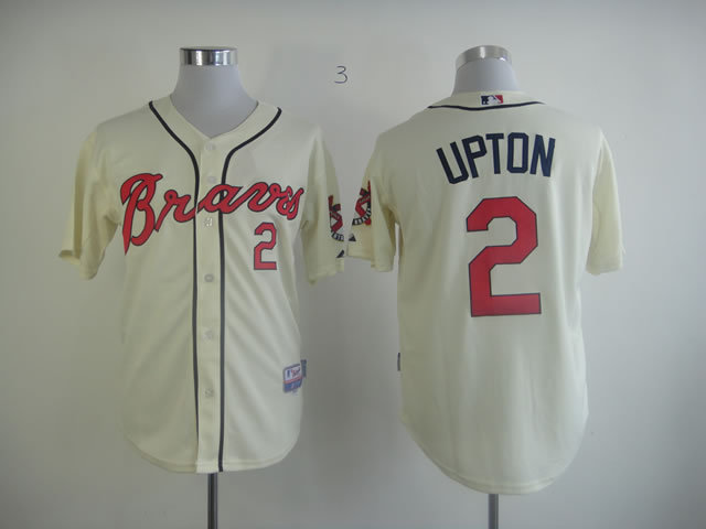 MLB Atlanta Braves 2 B.J. Upton Cream Jersey