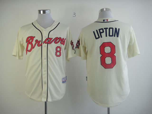 MLB Atlanta Braves 8 Upton Cream Jersey
