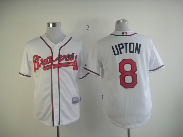 MLB Atlanta Braves 8 Upton White Jersey