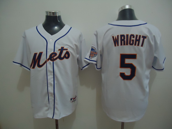 MLB New York Mets 5 WRIGHT White Jersey