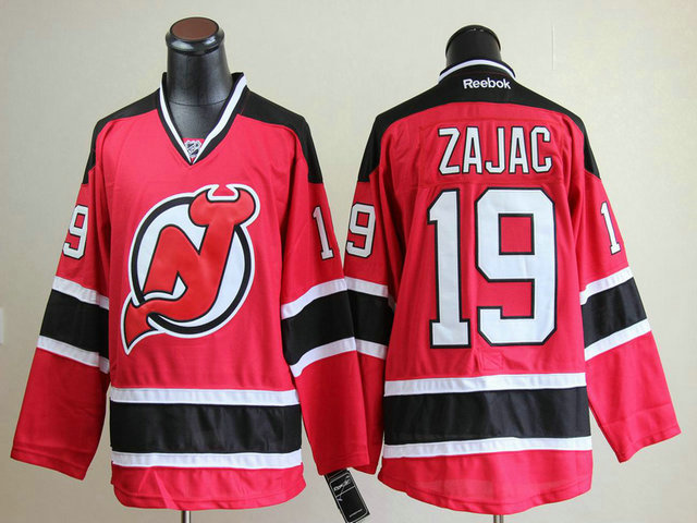 NHL New Jersey Devils 19 Travis Zajac Red Black