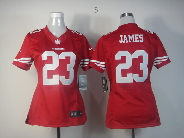 Womens San Francisco 49ers 23 LaMichael James Red Nike Jerseys