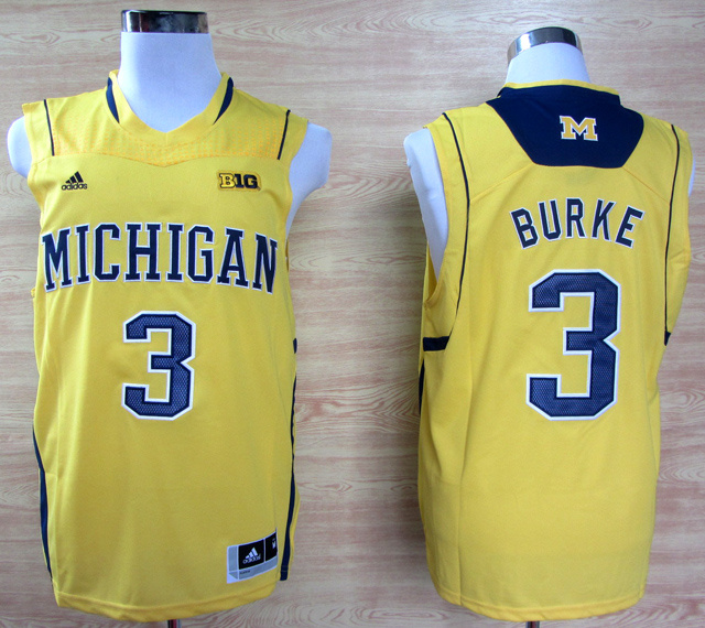 NBA NCAA Adidas Michigan Wolverines 3 Trey Burke Yellow Big 10 Patch Basketball Jerseys