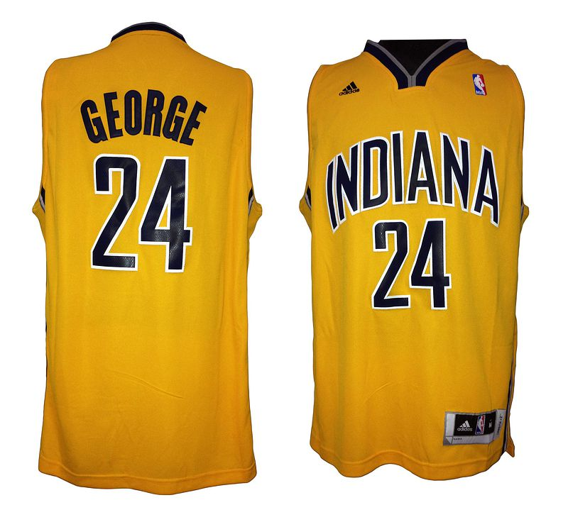 NBA Indiana Pacers 24 Paul George Yellow Gold Swingman Jersey