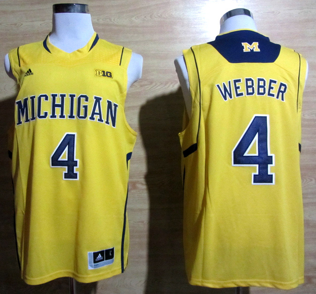 NBA NCAA Adidas Michigan Wolverines 4 Chirs Webber Yellow Basketball Jerseys