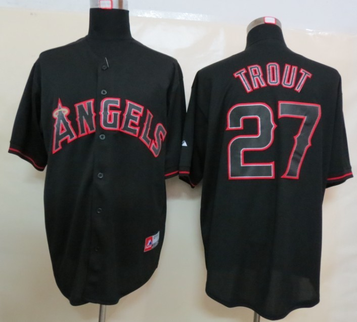 MLB Los Angeles Angels 27 Trout Black Fashion Jerseys