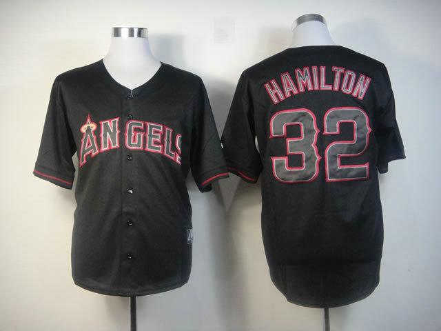 MLB Los Angeles Angels 32 hamilton Black Fashion Jerseys