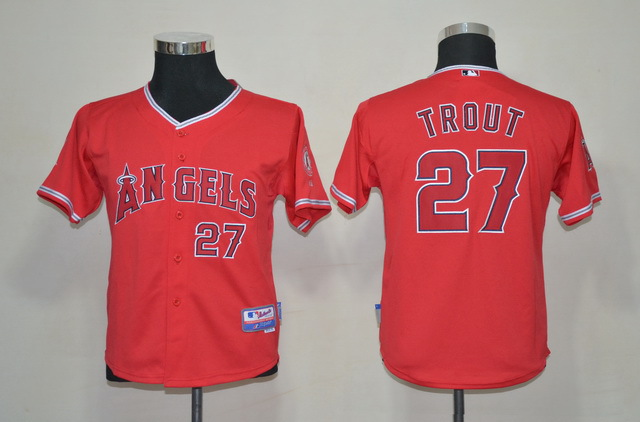 MLB Youth Jerseys Los Angeles Angels 27 Mike Trout Red