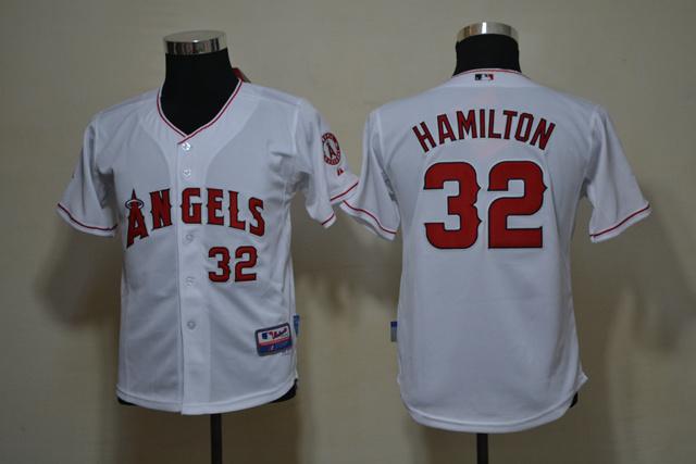 MLB Youth Jerseys Los Angeles Angels 32 Josh Hamilton white