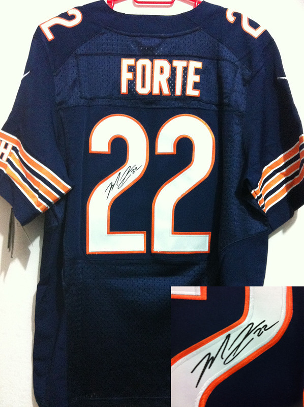 Chicago Bears 22 Forte Blue Nike Elite With player signed Jersey