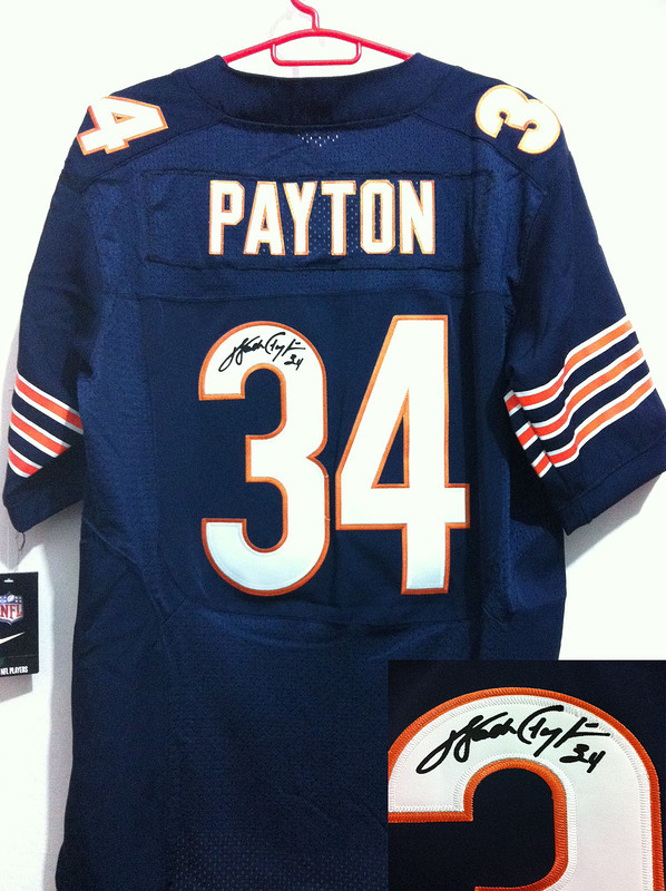 Chicago Bears 34 Payton Blue Nike Elite With player signed Jersey