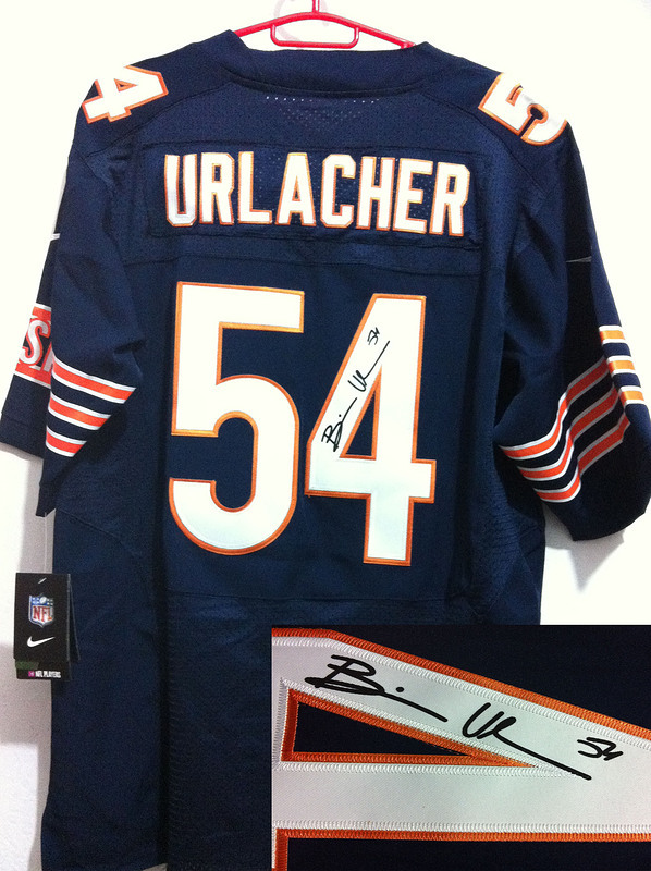 Chicago Bears 54 Urlacher Blue Nike Elite With player signed Jersey