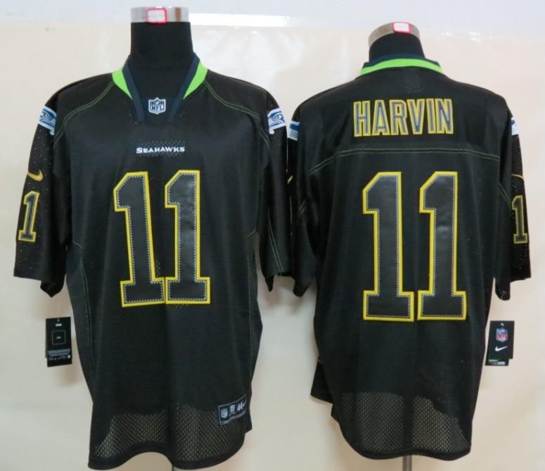Seattle Seahawks 11 Harvin Nike Lights Out Black Elite Jerseys