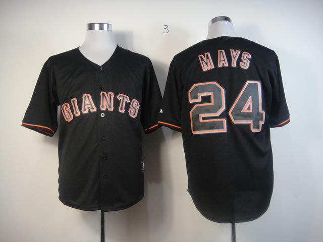 MLB San Francisco Giants 24 Mays Black Fashion Jersey