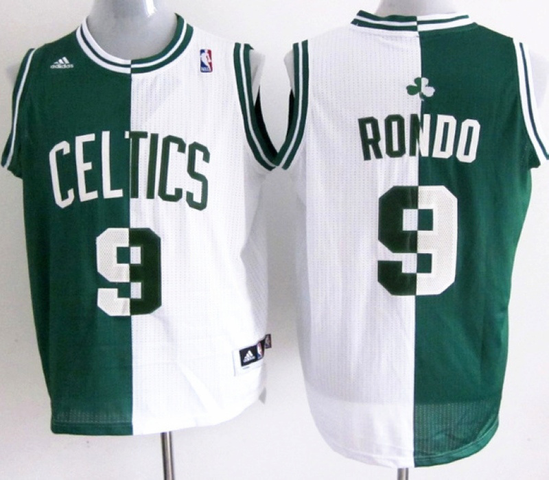 NBA Boston Celtlcs 9 Rajon Rondo green and white Splitting Special Edition jersey