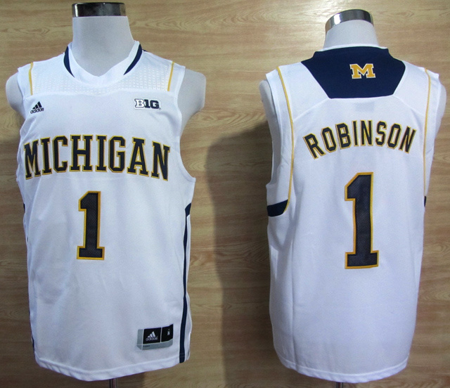 NBA NCAA Adidas Michigan Wolverines 1 Glenn Robinson III Basketball White Jerseys
