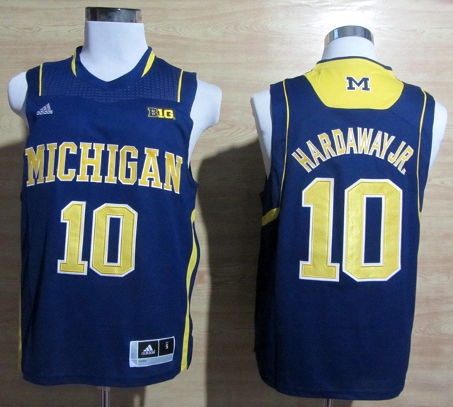 NBA NCAA Adidas Michigan Wolverines 10 Navy Blue Tim Hardaway Jr. 10 Basketball Jerseys