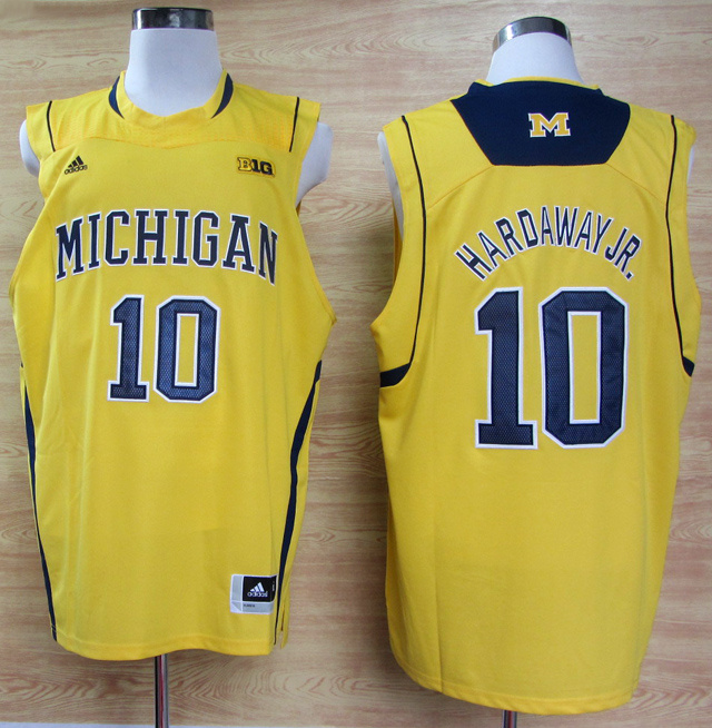 NBA NCAA Adidas Michigan Wolverines 10 Tim Hardaway Jr. Yellow Basketball Jerseys