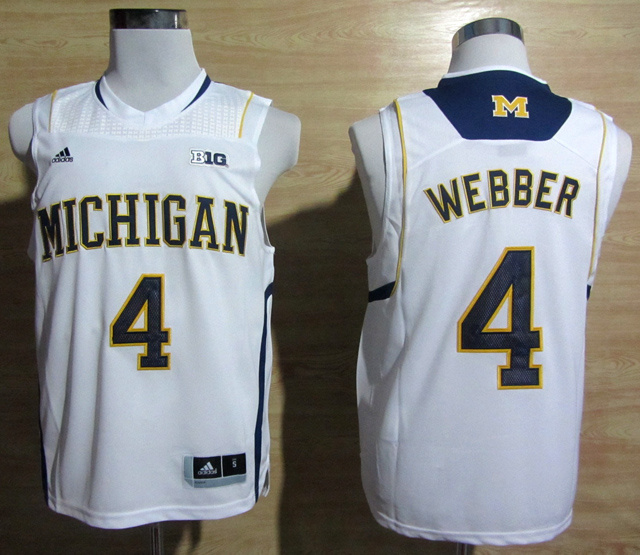 NBA NCAA Adidas Michigan Wolverines 4 Chirs Webber White Basketball Jerseys
