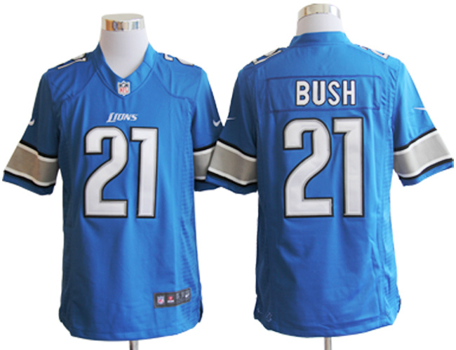 Detroit Lions 21 Reggie Bush Blue Nike Limited Jerseys