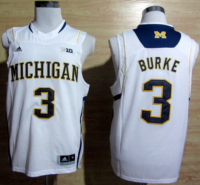 NBA NCAA Adidas Michigan Wolverines 3 Trey Burke White Big 10 Patch Basketball Jerseys