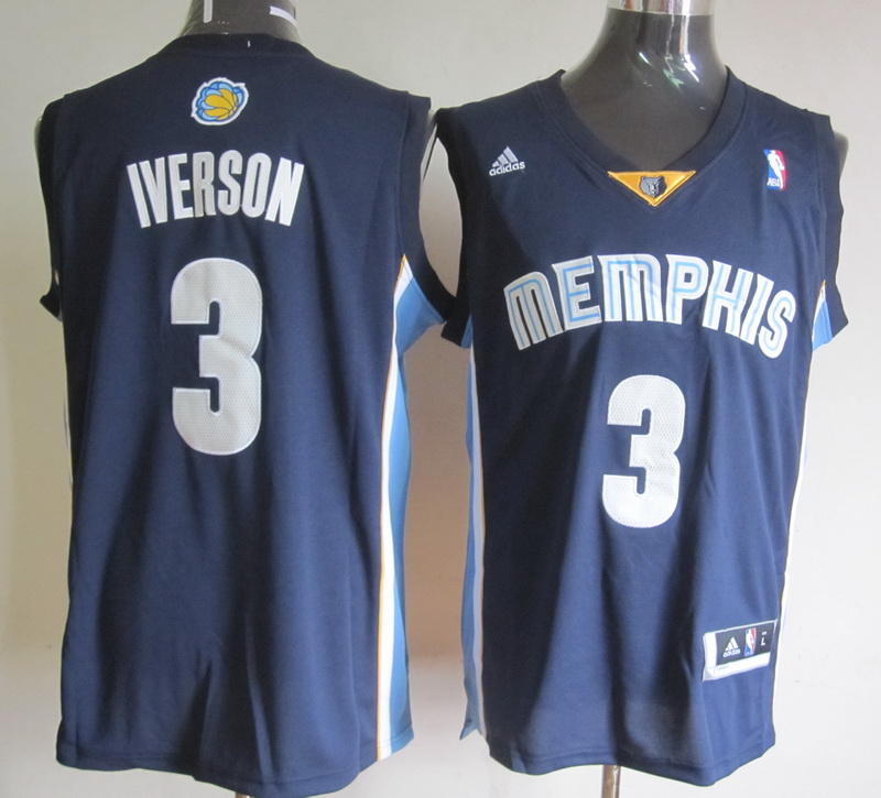 NBA Memphis Grizzlies 3 Allen Iverson Dark Blue Jerseys