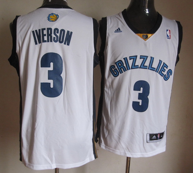 NBA Memphis Grizzlies 3 Allen Iverson White Jerseys