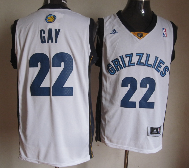 NBA Memphis Grizzlies 22 Rudy Gay White Jerseys