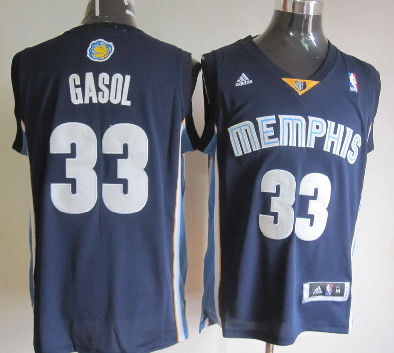 NBA Memphis Grizzlies 33 Marc Gasol Dark Blue Jerseys
