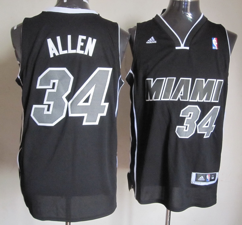 NBA Miami Heat 34 Allen 2014 New Black Jerseys