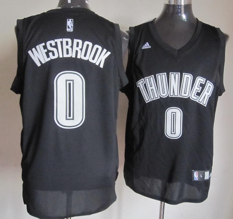NBA Oklahoma Thunders 0 Russell Westbrook 2014 New Black Jerseys