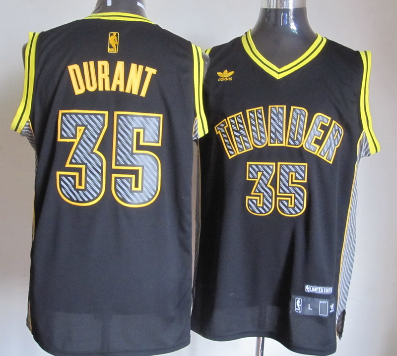 NBA Oklahoma Thunders 35 Kevin Durant 2014 New Black Jerseys