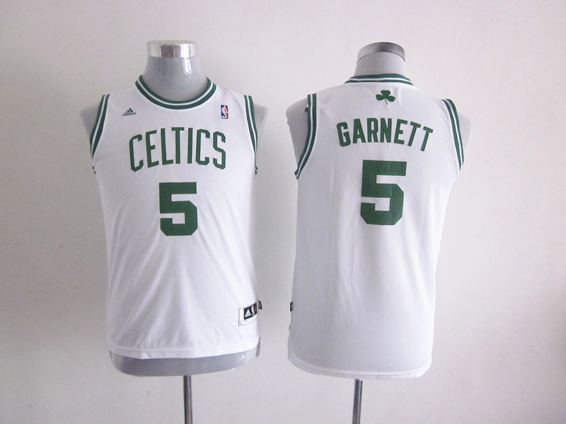 NBA Youth Boston Celtics 5 Kevin Garnett White Jerseys