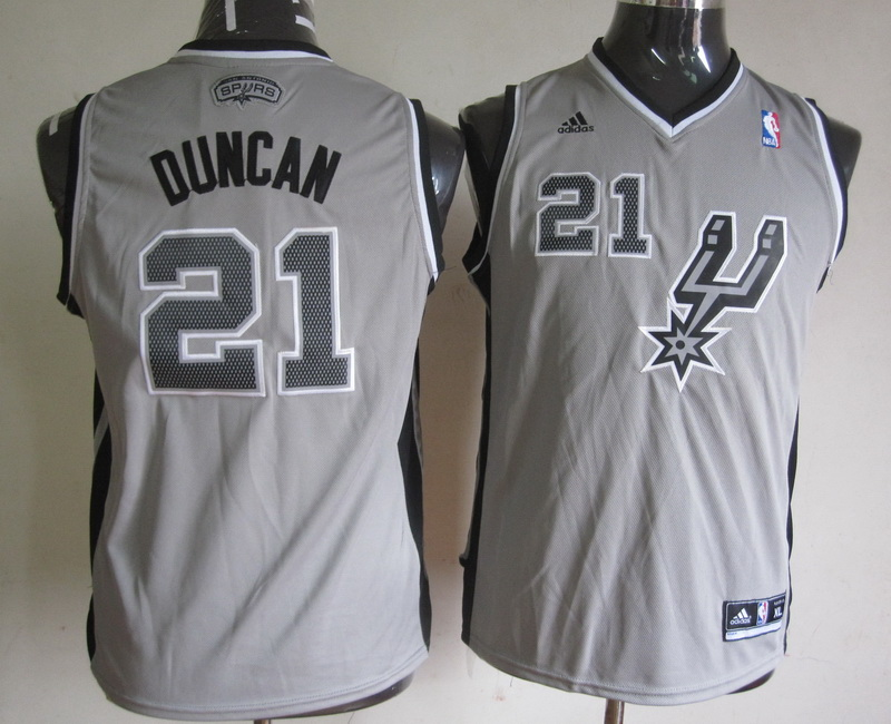 NBA Youth San Antonio Spurs 21 Tim Duncan Grey Jerseys