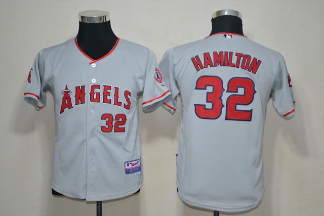 MLB Youth Los Angeles Angels 32 Hamilton grey Jerseys