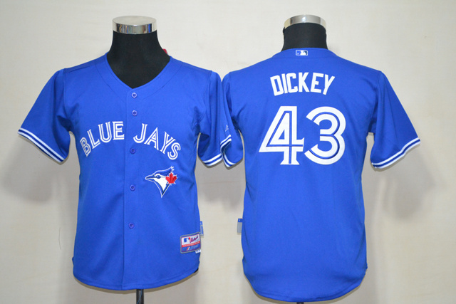 MLB Youth Toronto Blue Jays 43 Dickey Blue Jerseys