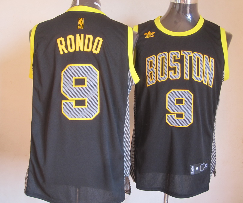 NBA Boston Celtlcs 9 Rondo 2013 Lightning New Black Jerseys