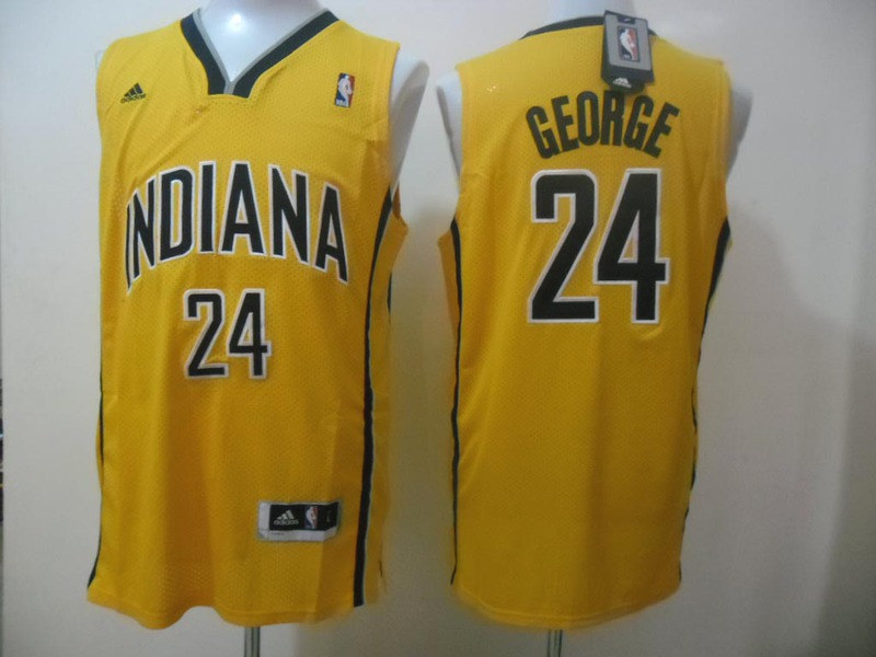 NBA Indiana Pacers 24 Paul George Yellow Jerseys