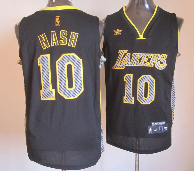 NBA Los Angeles Lakers 10 Nash 2013 Lightning New Black Jerseys