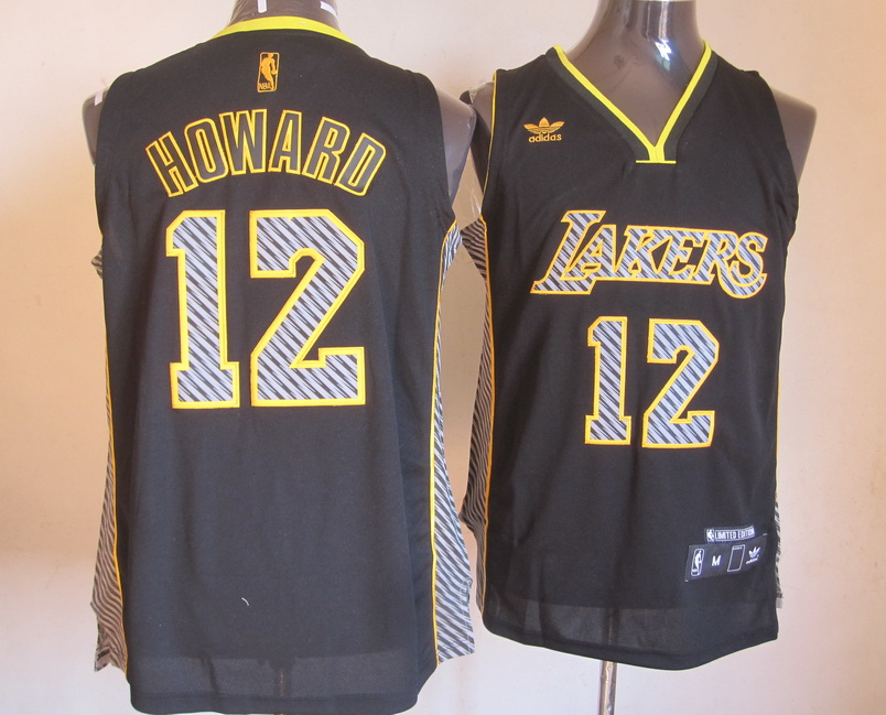 NBA Los Angeles Lakers 12 Howard 2013 Lightning New Black Jerseys
