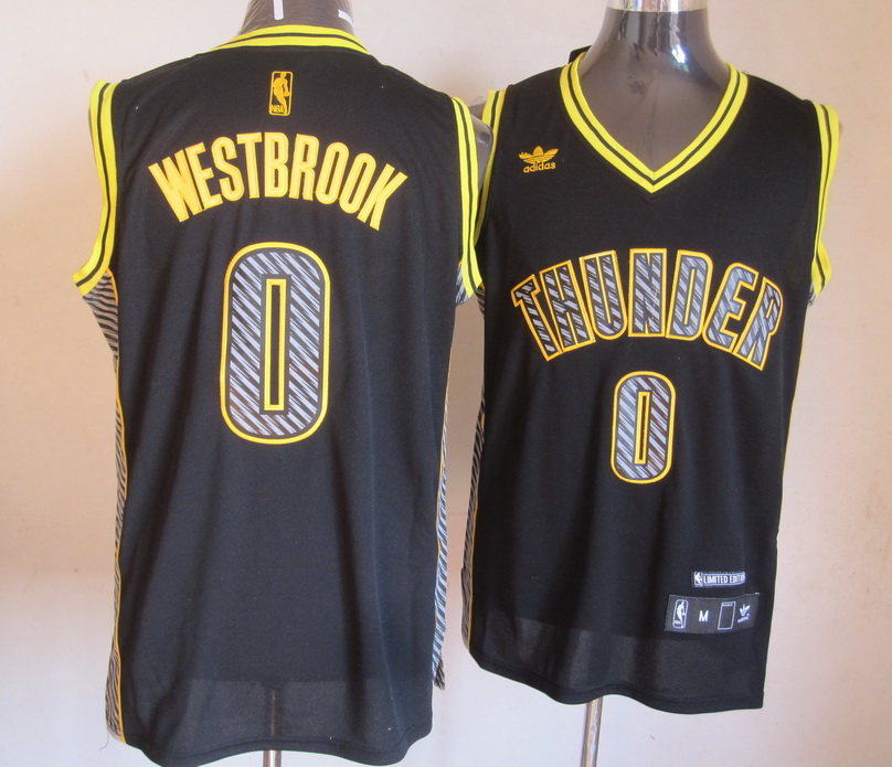 NBA Oklahoma Thunders 0 Russell Westbrook 2013 Lightning New Black Jerseys