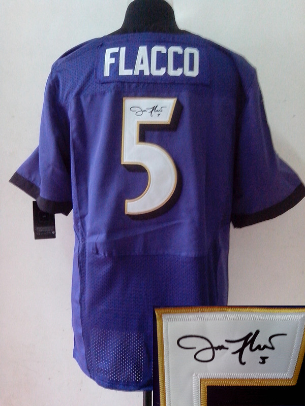 Baltimore Ravens 5 Joe Flacco Purple Nike Elite With player signed Jersey