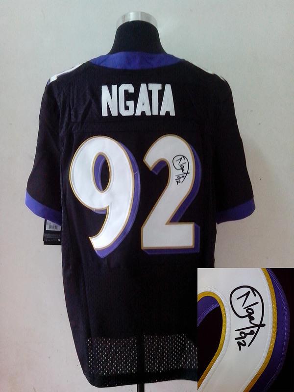 Baltimore Ravens 92 Haloti Ngata Black Nike Elite With player signed Jersey